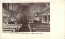 Portsmouth NH Church Interior c1905 Postcard