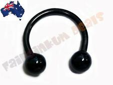 316L Surgical Steel Black Ion Plated Horseshoe with Ball Ends
