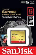 Tarjeta CF CompactFlash Sandisk 32gb Extreme 120mb/s Para Nikon D700 D200 D2Hs D300