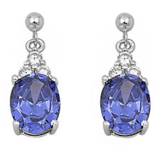 DANGLING OVAL TANZANITE & CZ .925 Sterling Silver Earrings