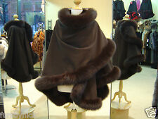Chocolate Brown Cashmere Cape With Fox Fur Trim Beautifully Canadian Label