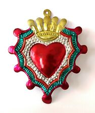 Authentic Mexican Tin Heart w/Crown & Rays Hand Cut & Painted Milagro Folk Art