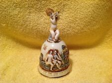 VINTAGE R CAPODIMONTE  HAND  PAINTED PORCELAIN CHERUB  PLAYING FLUTE DINNER BELL