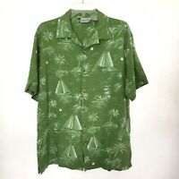 Island Blue Mens Large Green Rayon Hawaiian Short Sleeve Button Front Shirt