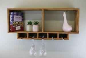 Wall Shelving Unit With Wine Glasses Storage Rack Display Wood Shelf Home Decor