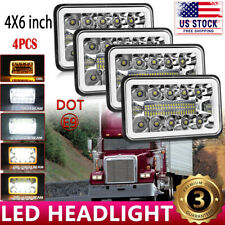 "4x6"" LED Headlights Sealed Hi/Lo Beam Halo Amber DRL For Freightliner FLD120 112"