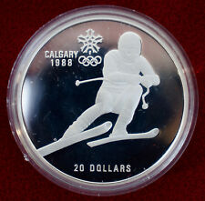 CANADA: 20 Dollar 1985,Olympia Calgary Winter Olympics. Silver,encapsulated. J5