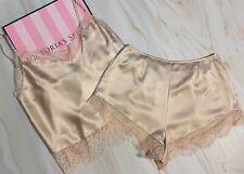 New Victoria's Secret Lace Satin Cami & Short Set Pajama Set PJs Sand Beige XS