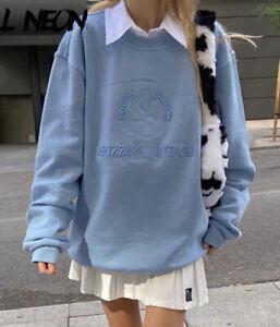baby blue oversized sweatshirt hoodie jumper Embroidery vintage Crewneck Urban