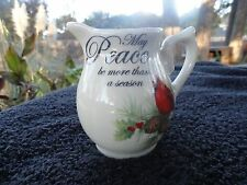 Cracker Barrel Season of Peace Red Cardinal Green Holly Off White Creamer
