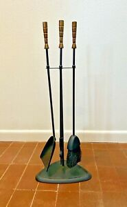 Luther Conover Vtg Mid Century Modern Wrought Iron Brass Fireplace Tools Seymour