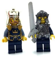 LEGO LOT OF 2 CASTLE MINIFIGURES KING CROWN KNIGHT FIGURES WITH ARMOR & WEAPONS