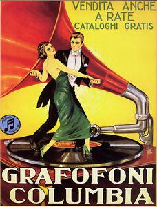Grafofoni Columbia 1920 Vintage Music Poster