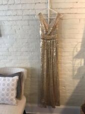 Gold Sequin Bridesmaid/Formal Dress, V Neck, Floor Length, US size 6, Kate Kasin