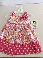 Allison Ann Kids Pink 2pc Garment Dress Set Outfit w/ Butterflies Size 12M NWT