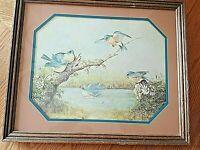 """Margie Morrow AFTER A SUMMER SHOWER Bluebird Wood Framed Print 1983 15""""x18"""" Vtg"""