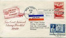 LETTRE ETATS UNIS / NEW YORK / AIR MAIL STAMP BOOKLET / VAR / JUAN LES PINS 1949