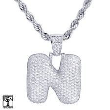 "Iced Cz Pendant 24"" Chain Necklace N Initial Silver Plated Custom Bubble Letter"
