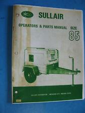 Sullair Air Compressor Operators Manual Amp Parts List 85 G
