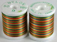 1 Vintage Spool Gudebrod Variegated Rainbow Rod Winding Thread Size D 50 Yards