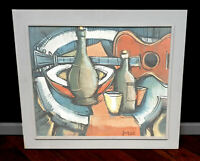 Stillleben mit Gitarre. Ölgemälde Kubismus Expressionist Malstil Braque