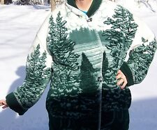 WOMEN'S VERY WARM FLEECE COAT/JACKET- XL - GREEN & WHITE - OUTDOOR DESIGN