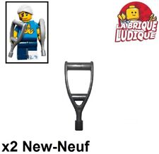 Lego - 2x Minifig utensil béquille Crutch argent/flat silver 24077 NEUF