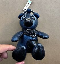 Authentic Coach Leather Teddy Bear Key Chain Ring Purse Charm NEW 56749 Navy