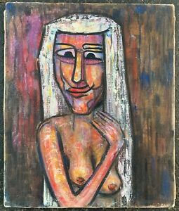 Vintage 70s Abstract Nude Woman Painting Wall Hanging Mid Century Modern Gillis