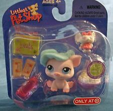 Littlest Pet Shop Target exclusive retired#305 pink piggy with hat mini mouse +