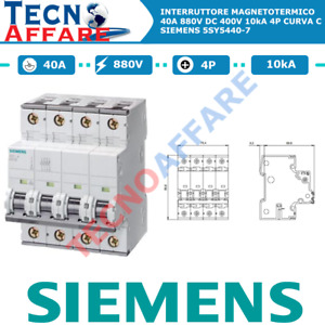 Interruttore Magnetotermico C40 40A 880V 10kA 4Poli Curva C Siemens 5SY5440-7