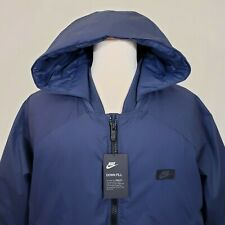 Nike Mens XXL Convertible Jacket Down Fill Insulated Hooded Blue Navy Coat