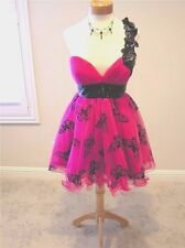 NWT JOVANI One shoulder prom pageant formal dress ball gown  Pink/black 10