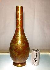 "Enormous 18"" Graf Harrach Enameled Custard Glass Vase Aesthetic Movement Gem"