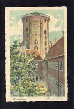 ROUND TOWER, COPENHAGEN. ART POSTCARD POSTED 1938 RUNDETAARN KOBENHAVN