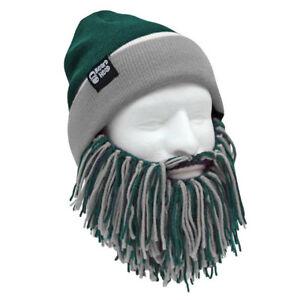 Philadelphia Eagles Green Grey Knit Football PHI Beard Ski Mask And Winter Hat +