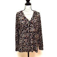 Ann Taylor LOFT Blouse Top Womens Size XL Brown Black V-Neck Long Sleeve Stretch