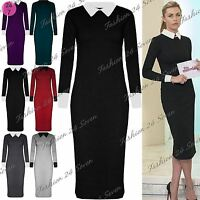Womens Plus Size Midi Dress Ladies Fine Knitted Long Sleeve Contrast Collared