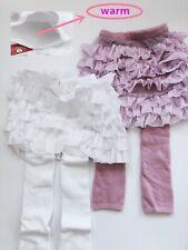 Girl Kids Winter Warm Fleece Plush Lace Tutu Skort Skirt Tights Stockings 2-6 yr