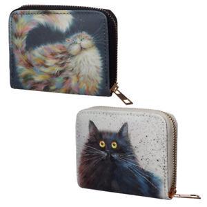 small Size Around Wallet Kim Haskins women's purse black or rainbow cat design