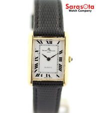 Baume&Mercier 18K Yellow Gold Black Lizard Rectangle Quartz Women's Watch