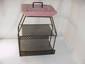 VINTAGE PINK HULL ? POTTERY SPLATTER WARE ASHTRAY & MAGAZINE RACK STAND #3