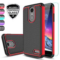 For LG Phoenix 4 /Rebel 4 /Fortune 2/Zone 4 Hybrid Case Cover + Screen Protector