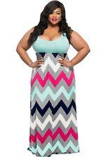 Plus Size Clothing 5X Chevron Print Maxi Dress SEXY Womens Sundress Sz 18 20 NEW