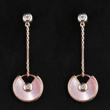 Natual Pink Shell 12MM Amulette Earrings Solid 14K Rose Gold Moissanite Jewelry
