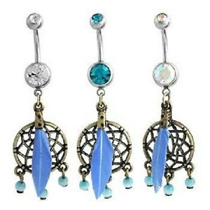 14g Dreamcatcher Blue Feather Antique Style Belly Ring Naval Clear CZ Jewelry