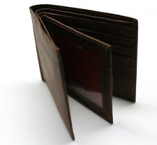Leather Multi Card Billfold Wallet with Center Flap - Brown - New