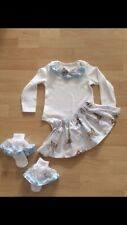 Baby Girl Xmas Princess Blue Bambi Outfit Vest, Skirt & Frilly Socks 6-9 Months