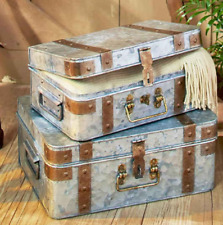 Rustic Primitive Suitcase Decor Set Metal Unique Living Room Bedroom Storage