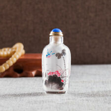Inner Painting Snuff Bottle Chinese Antique Ornament Beautiful Lotus and Birds